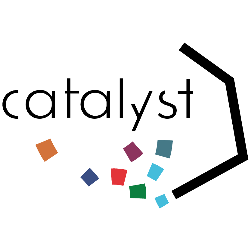 abstract logo with squares and a line with the word catalyst